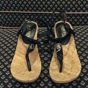 Ralph Lauren Black &Cork Bottom Wedge Sandal SZ 7